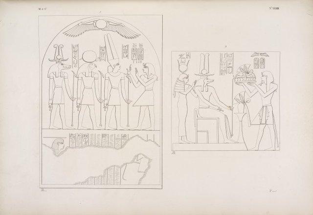 Sculture dello Speco medesimo]. 1. Offerta di Ramses IV ad Amon-re, a Phre [Ra]e a Sevek [Sobek]. 2. Il medesimo offre fiori e vivande a Sevek [Sobek] e ad Athyr [Hathor].