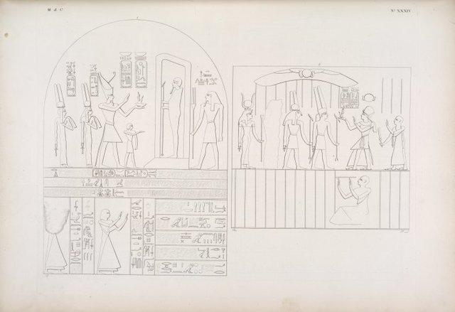 Silsilis] Ramses III, seguìto dalla moglie Isenofre e dalla figlia Baitiante, viene ad offerire l'emblema della Giustizia a Phtah e ad Atmu. - Il re Menphtah II, seguìto da un Atloforo, offre lo stesso emblema ad Amonrê, a Mandu e ad Athyr [Hathor].