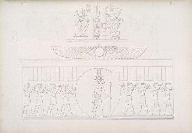 Soggetti mitici del tempio di Esneh: 1. Chnuphis [Khnum] e Sate [Satis] fiancheggiano un cartello reale. 2. Chnuphis [Khnum] nel Disco, adorato da otto Genj celesti.