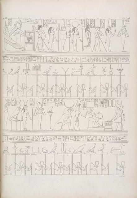 Storie mitiche rappresentate nell' appartamento funebre di Osiride [Osiris] a Phile [Philae].