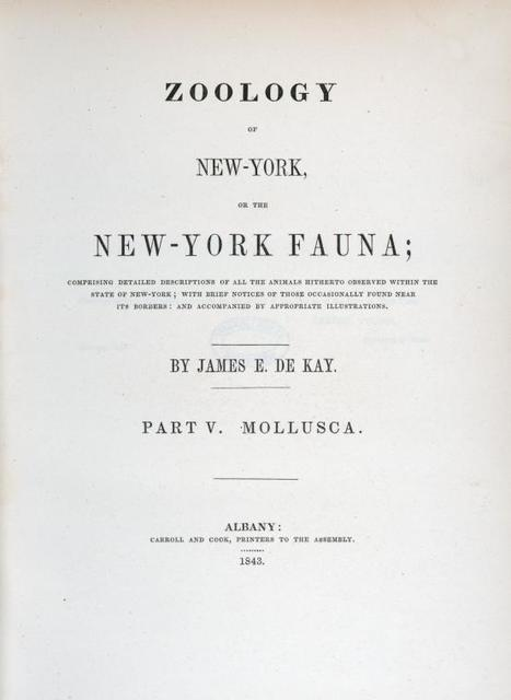 [Title page] Zoology of New York  Part V. Mollusca