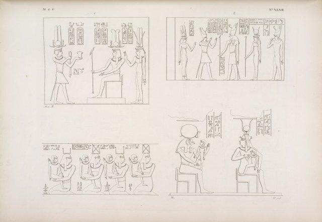 Tolomeo-Evergete II fa offerte a'suoi antenati Tolomeo e Berenice.--Tolomeo e Berenice offrono ad Har-Hat, Athyr e Horus.--(Tifonio di Edfu): Quattro deita che portano quattro divini fanciulli. Iside allatta un fanciullo, e Phre lo tiene in braccio.