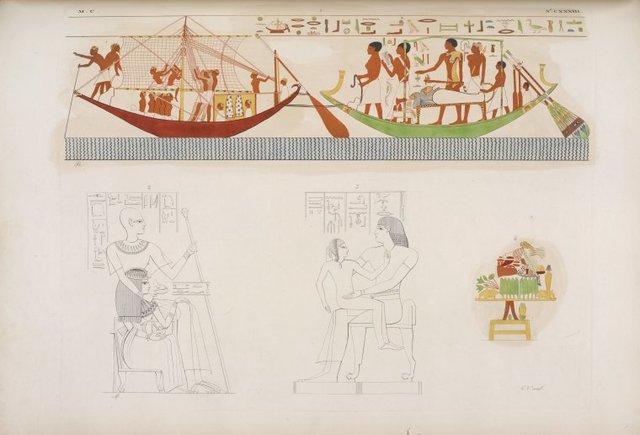 Una barca che ne rimorchia un'altra per trasporto di una mummia. - Due immagini di defunti figurati nella lor tomba. - Ara funebre.