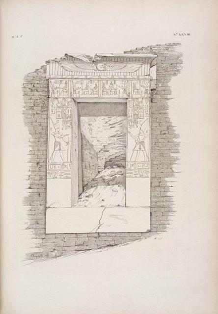 Un'antica porta del re Thutmes-Moeris [Thutmose III] conservata tra le costruzioni tolemaiche di Ombôs.