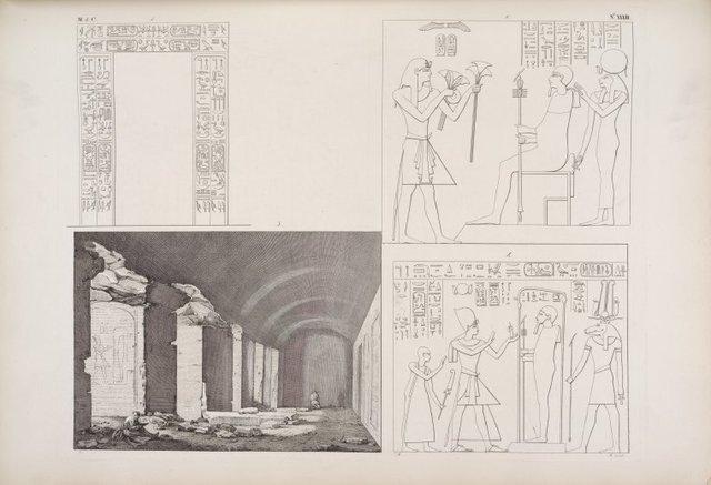 Veduta dello Speco di Silsilis. - Iscrizione della porta principale. - Offerte di Ramses III e di Ramses IV alle deità del luogo.