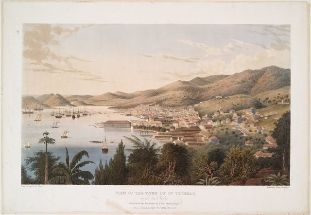 View of the town of St. Thomas, in the West Indies.