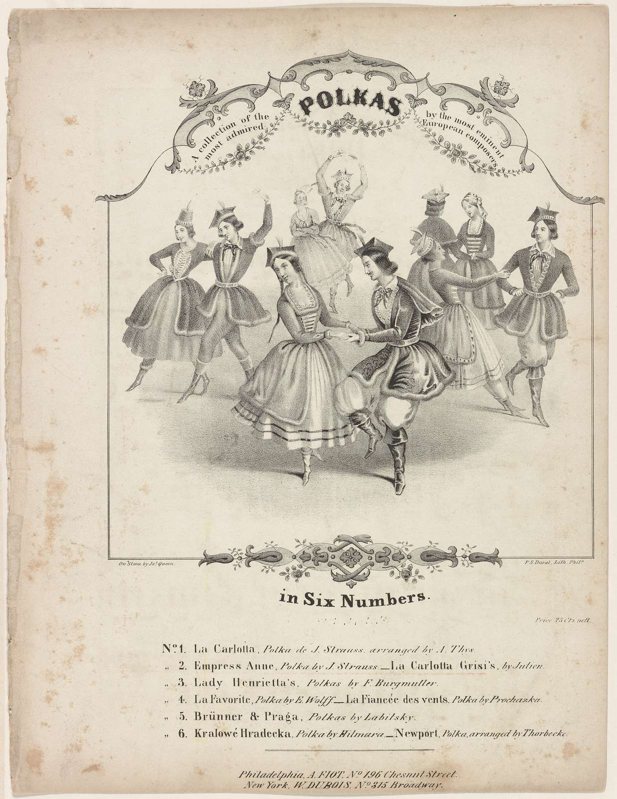 A collection of the most admired polkas by the most eminent European composers in six Numbers. No. 2. Empress Anne, polka by J. Strauss. - La Carlotta Grisi's, by Julien.: [Lithograph] On stone by Jas. Queen. P. S. Duval, Lith. Phila.