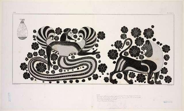 A winged ichthyomorphic [fish-form] god, perhaps Oannes, Dagon, or Cadmus
