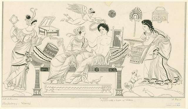 Apollo and Aphrodite on cushioned couch, flanked by female attendants with basket, mirror, box and magic wheel; Eros hovers above with wreath