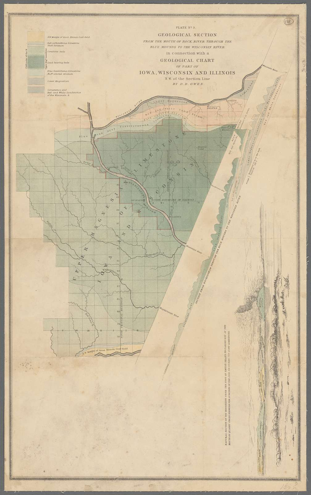 Geological section from the mouth of Rock River through the Blue Mounds to the Wisconsin River : in connection with a geological chart of part of Iowa, Wisconsin and Illinois, N.W. of the section line