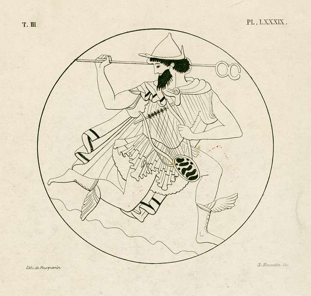 Mercury in a pose of flight carrying his caduceus and a lyre