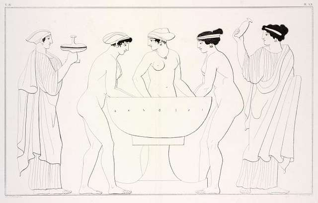 The Three Graces bathing assisted by the Hours.