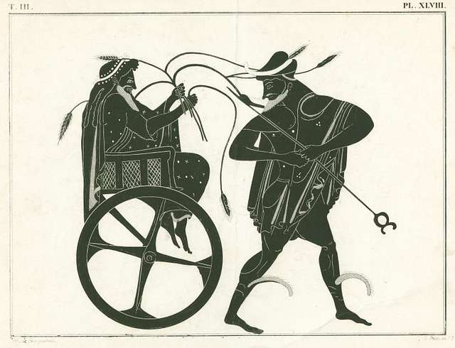 Triptolemus, seated in chariot, preceded by Hermes