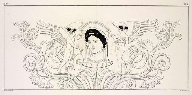 Venus rising from a calyx  between love hermaphrodites.