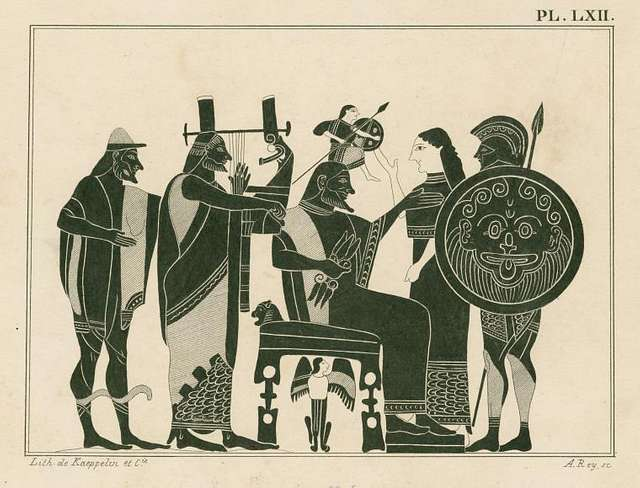 Zeus on his throne gives birth to Athena