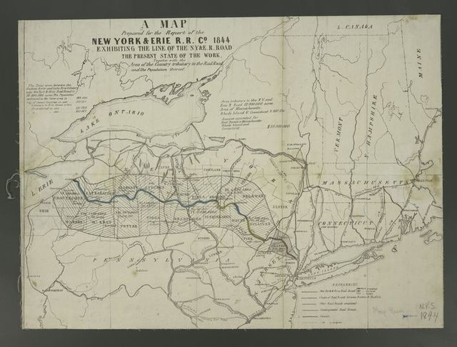 A map prepared for the report of the New York & Erie R.R. Co., 1844, exhibiting the line of the N.Y. & E. R. Road : & the present state of the work, together with the area of the country tributary to the railroad and the population thereof.