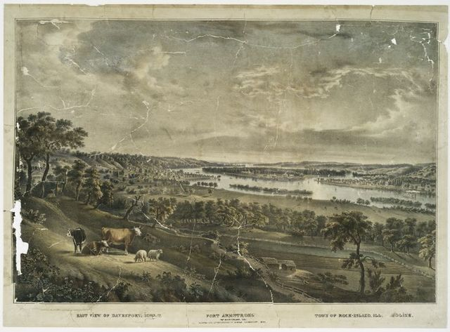 East view of Davenport.  Iowa T.  Fort Armstrong on Rock-Island, Ill: town of Rock-Island.  Ill: Moline.
