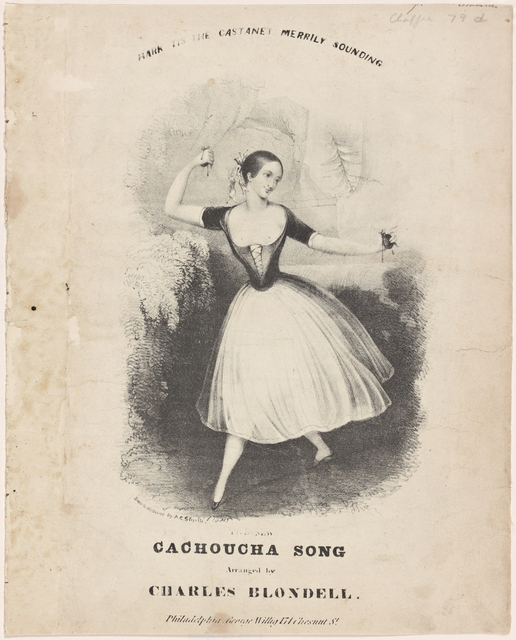 Hark, tis the castanet merrily sounding. The new cachoucha [sic] song arranged by Charles Blondell. [Lithograph] drawn on stone by A. C. Smith.