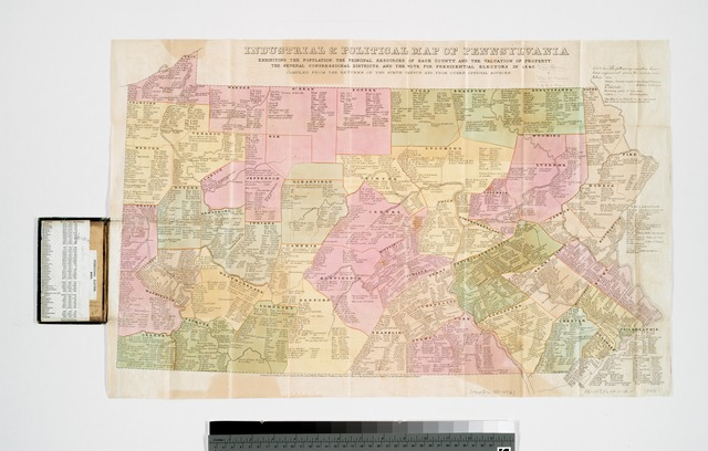 Industrial & political map of Pennsylvania : exhibiting the population, the principal resources of each county, and the valuation of property : the several Congressional districts, and the vote for presidential electors in 1840.