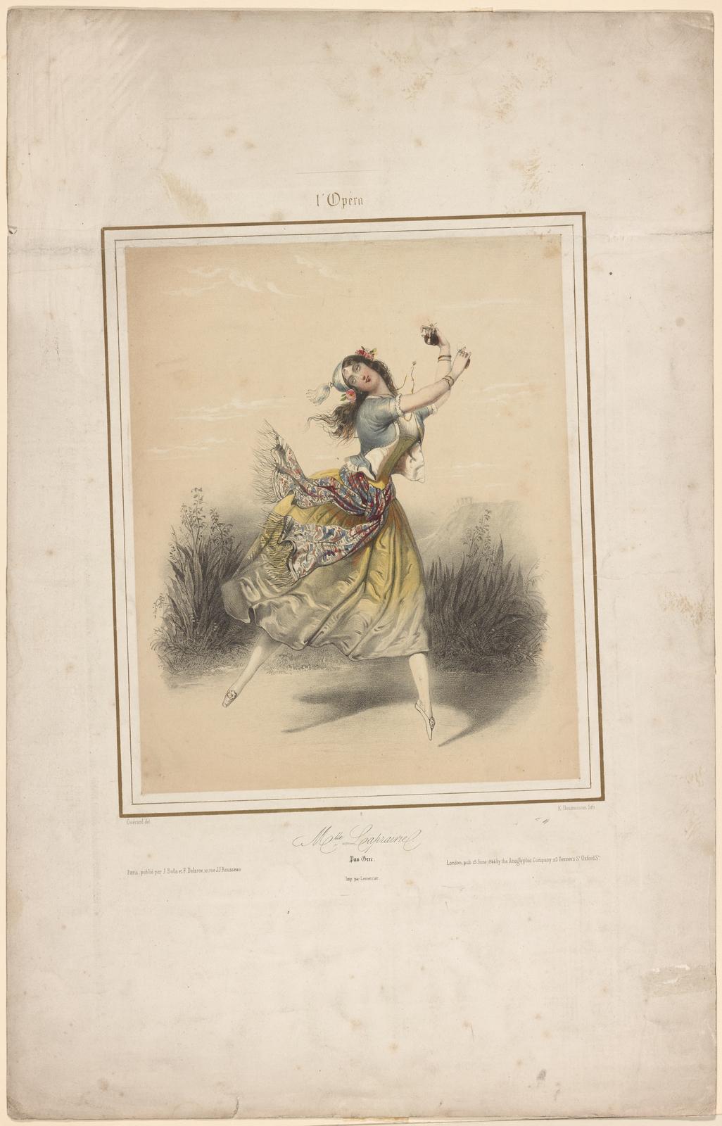 Mlle Laprairie. Pas grec: [Lithograph by E. Desmaisons after Guérard] Imp. par Lemercier