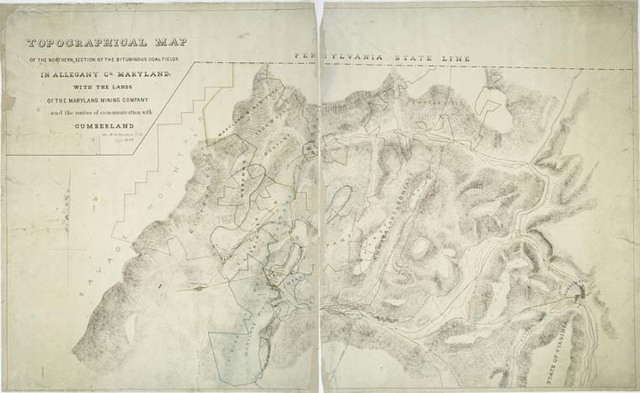 Topographical map of the northern section of the bituminous coal fields in Allegany Co., Maryland : with the lands of the Maryland Mining Company and the routes of communication with Cumberland