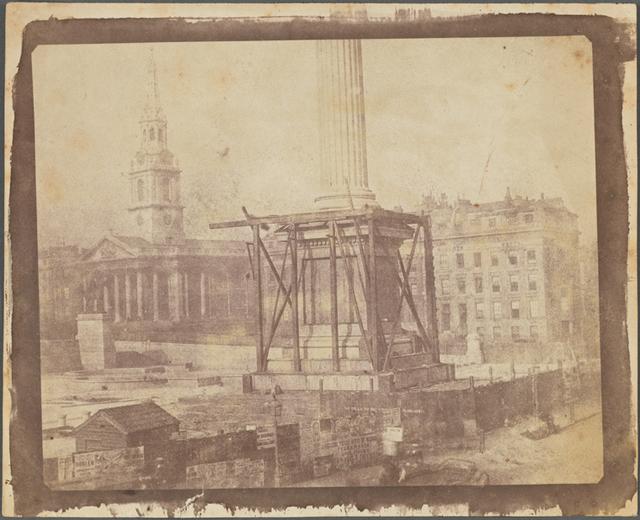 Trafalgar Square, London, during the erection of the Nelson Column
