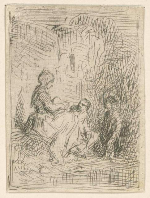 [Une femme et des enfants.]