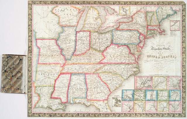 Ensign's Travellers' guide and map of the United States : containing the roads, distances, steam boat and canal routes &c.