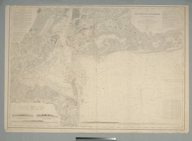 Map of New-York Bay and Harbor and the environs : [with colored manuscript additions to show positions of troops and fleets at the Battle of Long Island, 1776]