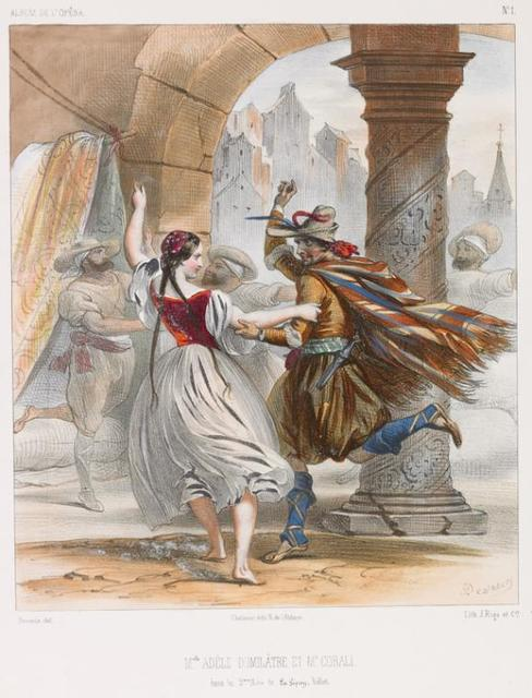 M'elle Adèle Dumilâtre et M'r Corali dans le 2eme acte de La Gipsy, ballet