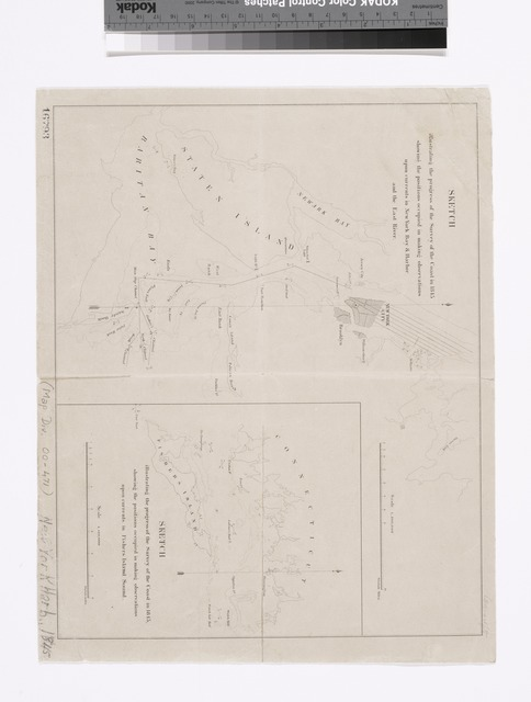 Sketch illustrating the progress of the survey of the coast in 1845 showing the positions occupied in making observations upon currents in New York Bay & Harbor and the East River.