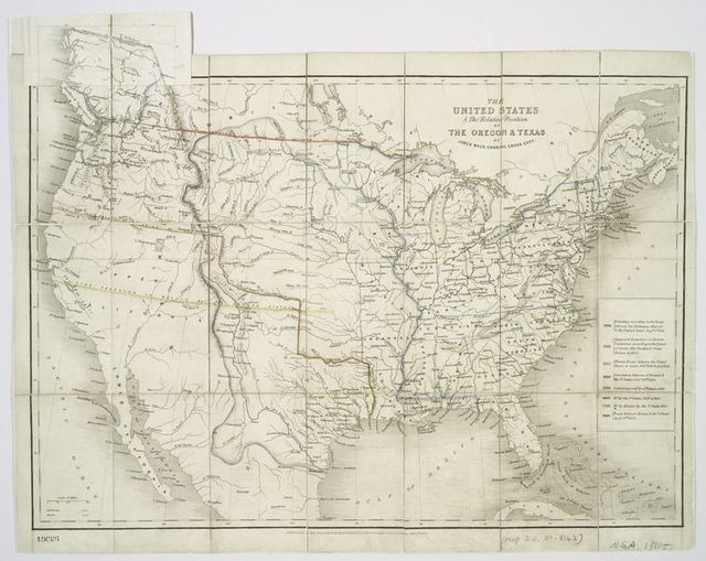 The United States & the relative position of the Oregon & Texas