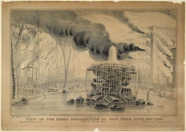View of the great conflagration at New York July 19th, 1845. From the Bowling Green