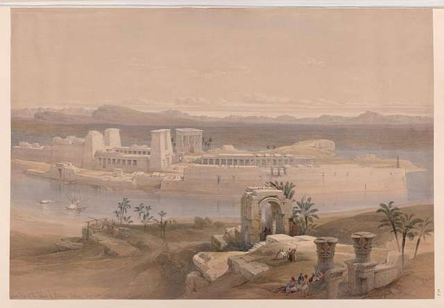 General view of the Island of Philæ, Nubia. Nov. 18th, 1838.