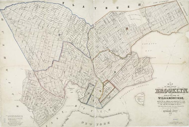 Map of the city of Brooklyn, and village of Williamsburg : showing the size of blocks and width of streets as laid out by the Commissioners, the old farm lines, water line, and all recent changes in streets