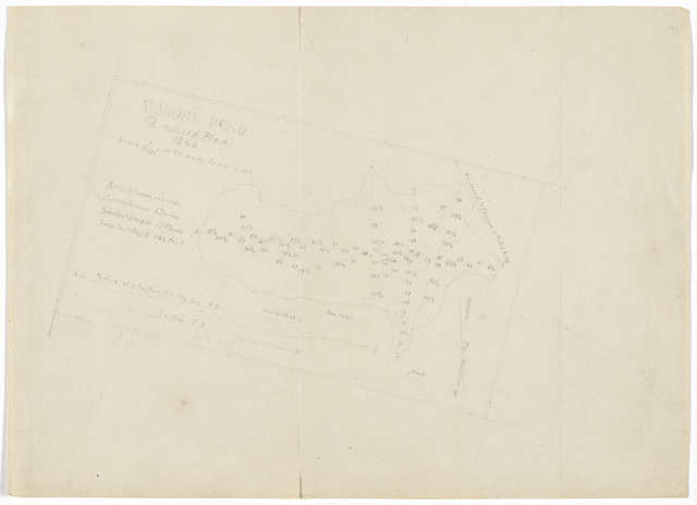 Walden Pond. A reduced plan. 1846. Original pencil map.