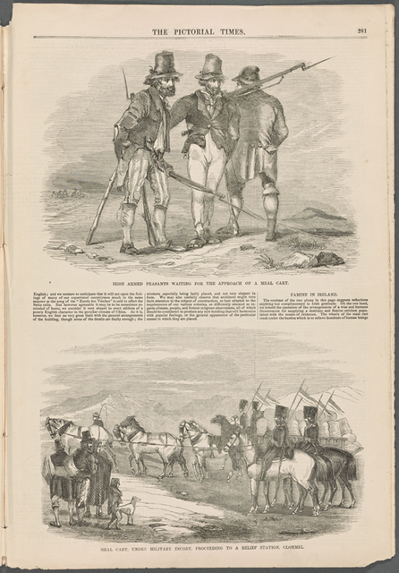 Irish armed peasants waiting for the approach of meal cart; Meal cart, military escort, proceeding to a relief station, Clonmel volume 10, no. 242, page 281