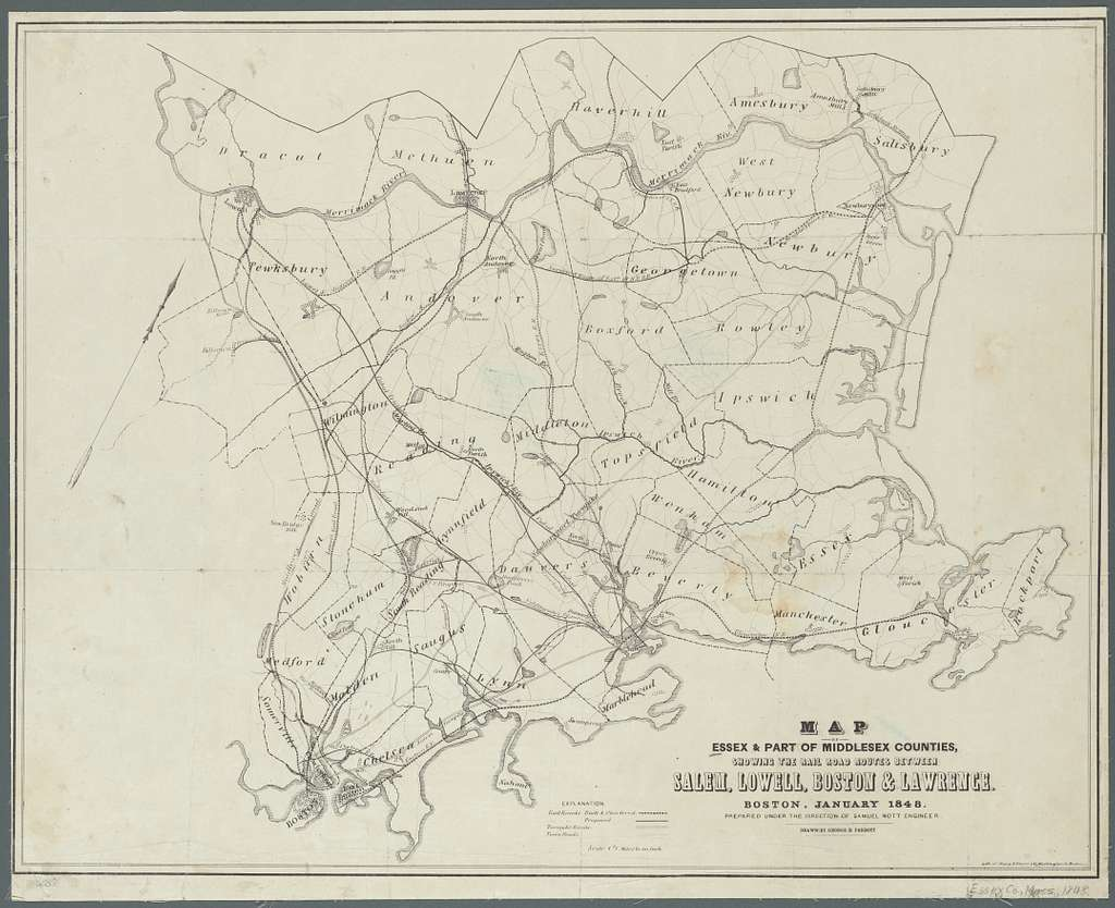 Map of Essex & part of Middlesex counties, showing the rail road routes between Salem, Lowell, Boston & Lawrence