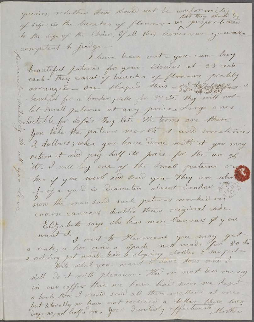 [Peabody, Elizabeth Palmer,] mother, ALS to SAPH. [Apr.] 17, [1848?]