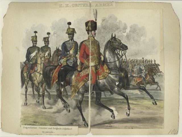 K.K. Oestere. Armée, Ungarischer General und Brigade Adjutant en Parade
