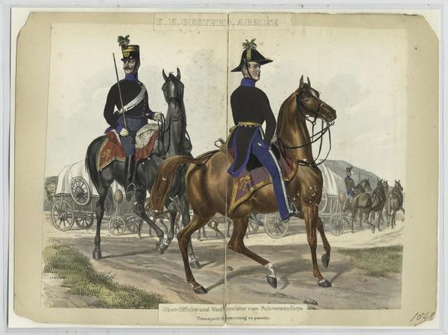 Ober-Officier und Wachtmeister vom Fuhrwesen-Corps Transport-Bespannung en parade
