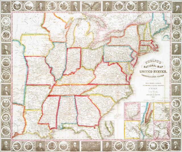 Phelps's national map of the United States : a travellers guide : embracing the principal rail roads, canals, steam boat & stage routes, throughout the union