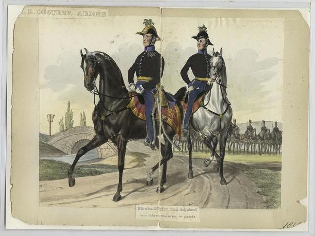 Staabs-Officier und Adjutant vom Fuhrwesen-Corps, en parade