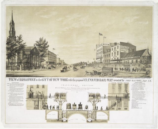 View of Broadway in the city of New York with the proposed elevated rail-way invented by John Randel, Junr. C.E.