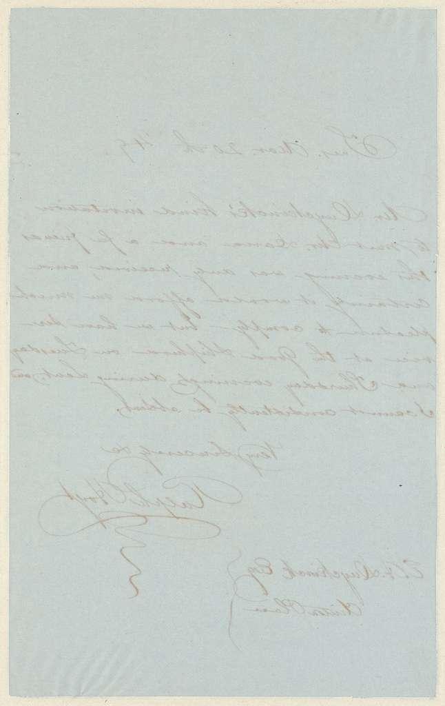 Ralph Hoyt letter to E.A. Duyckinck