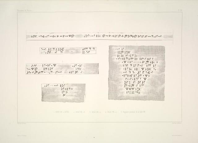 1. Bord de l'autel; 2. Salle VIII, 25; 3. Salle VIII, 17; 4. Salle VIII, 12; 5. Fragment provenant de la Salle VIII.