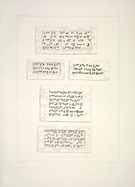 1. Briques du Koyoundjouk; 2-5. Briques de Khorsabad.