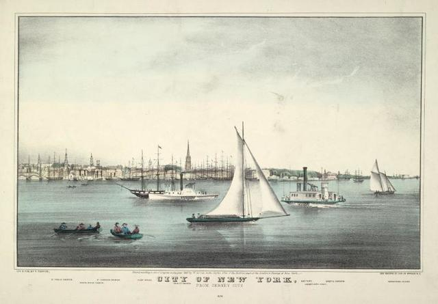 City of New York, from Jersey City. 626. [9 names of buildings on, etc., on 2 lines.]