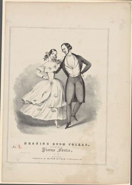 Drawing room polkas. arranged for the piano forte. Thayer & Co. lith