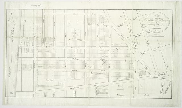 Map of property on Brooklyn Heights, or, Pierrepont Estate, and neighbourhood.
